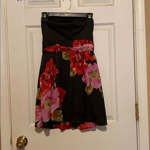 Black strapless floral dress